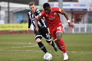 Bez Lubala in action against Grimsby Town