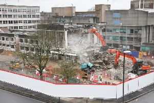 An aerial view of demolition work at Crawley Civic Hall today (January 27)