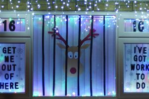 One of the advent calendar windows in Barby, Northamptonshire
