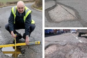 Mr Pothole with some of the county's defects.