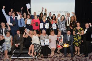 The winners and finalists on stage at the Kettering Park Hotel