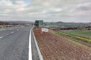 The new link road, looking from the A45 near Weedon towards Flore