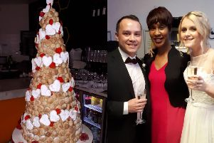 Sheron Burt presided over happy couple Maddie Jones and Alex Sung's wedding in Pizza Express, complete with a dough ball cake