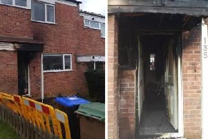 The fire started at the front of the house in The Stour with the family able to escape out the back