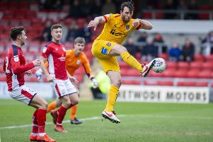 John-Joe O'Toole had this early effort cleared off the line against Crewe. Picture: Kirsty Edmonds