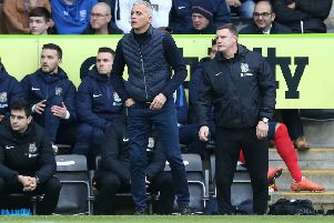Keith Curle with assistant Colin West. Picture: Pete Norton/Getty Images