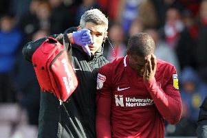 Marvin Sordell was forced off with a head injury on Saturday. Picture: Sharon Lucey
