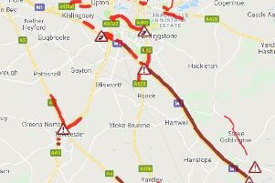 Severe delays on the M1 in Northants this morning (AA)