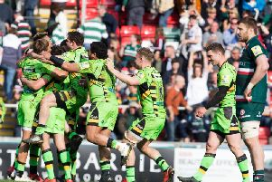 Saints celebrated a long-awaited win at Welford Road last April (picture: Kirsty Edmonds)