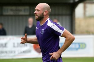 Adam Confue grabbed Daventry Town's second goal in Monday's final