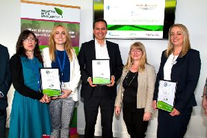 Caption: Second and third from left, Jeverly Findlay and Joely Slinn, representatives from Daventry District Council at the awards alongside other winners