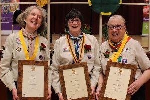 From left, dedicated Scout leaders Rosemary Verner, Mary Adams and Dorothy Parton, receiving their top awards at The Guildhall in Northampton recently.
