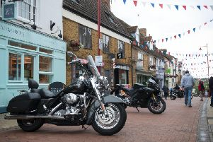 Some of the bikes on display in Sheaf Street in town at this year's Daventry Motorcycle Festival. (Picture by David Guest).