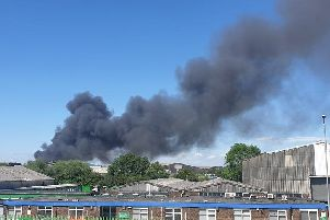 The smoke caused by the fire at the Wellingborough recycling centre. Photo: Tom Whitney/Twitter
