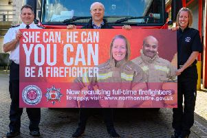 Northamptonshire Fire and Rescue Service chief fire officer Darren Dovey, police, fire and crime commissioner Stephen Mold and firefighter Natasha Dorrill promote the recruitment drive