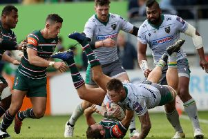 Teimana Harrison skippered Saints to another win at Welford Road
