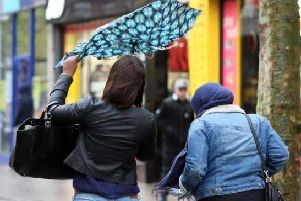 Northamptonshire will be ht by heavy rain and strong winds on Tuesday