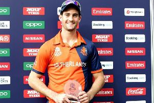 Brandon Glover was named man of the match as Netherlands beat Papua New Guinea in World T20 Qualifying final in Dubai