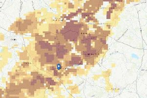 The shades areas show radon levels in Northamptonshire - the darkest ones are in the highest risk band where it is estimated that more than 30 per centof homes will contain radon concentrations in excess of the recommended limit. Photo: Public Health England