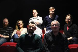 (L-R) John Paul Conaghan, actor Julie Addy, stage manager Fiona McLaughlin, director Kieran Griffiths (front), Writer Colin Bateman (front), Damian Quigley and Peter E Davidson