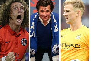 From left to right, David Luiz, Joey Barton and Joe Hart.