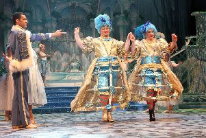The Ugly Sisters take centre stage at the Millennium Forum panto, 'Cinderella'.