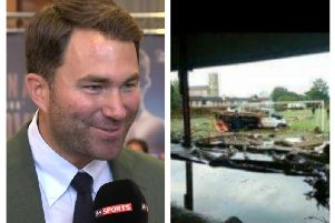 Eddie Hearn (left) and Dunree Boxing Club after the flooding.