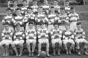 1961... The Corn na nOg football team (1960-61) from the Christian Brothers' Technical School, Brow of the Hill. Front, from left, are M. Gormley, J. Clarke, W. Gallagher, T. Logue, M. Duddy, M. Doherty and LV Gallagher. Centre - P. Doherty, J. Nash, EV Doherty, D. Kilkie, J. Meehan, L. Mullan, and G. Canning. At back are J. McCaul, J. Hutton, S. McColgan, G. Hutton, L. Bradley and C. Deeney.