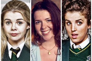 DERRY GIRLS: from left to right, Saoirse-Monica Jackson (Erin Quinn), Lisa McGee (writer and creator) and Jamie-Lee O'Donnell (Michelle Mallon). (Photos: Channel 4)