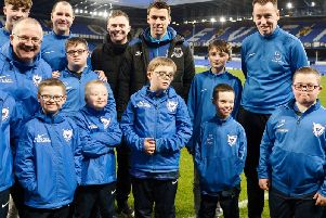 Oxford Bulls players and coaches get to meet Everton and Ireland star, Seamus Coleman at Goodison Park.