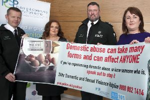 Inspector Bjorn O'Brien, PCSP Vice-Chairperson Ashleen Schenning, PSNI domestic violence lead for Causeway Coast and Glens Colin Shaw, Sharon Burnett, Causeway Women's Aid Chief Executive and PCSP Officer Melissa Lemon pictured at the launch of a new support initiative for victims of domestic abuse funded by Causeway Coast and Glens Policing and Community Safety Partnership.