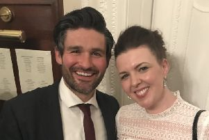 Derry's George Hutton pictured with Derry Girls creator, Lisa McGee, at last week's event at the Irish Embassy.