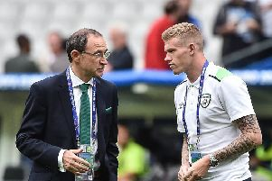 Republic of Ireland manager Martin O'Neill in conversation with Derry's James McClean