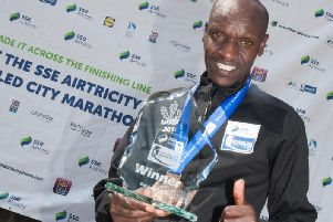 2018 Walled City Marathon winner and new course record holder, Dan Tanui of Project Africa pictured with his trophy.