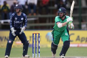 Andrew Balbirnie in action for Ireland.