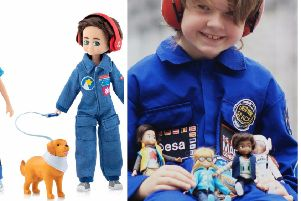 Young Hayden and the astronaut doll he inspired.