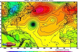 Hurricane Leslie is currently out over the mid-Atlantic Ocean area.