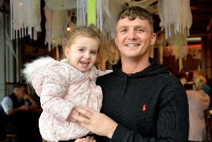 Connor Coyle pictured with his daughter Clodagh Rose at the Danger at the Docks boxing bill press conference held at the Bentley on Tuesday afternoon last. DER4018GS008