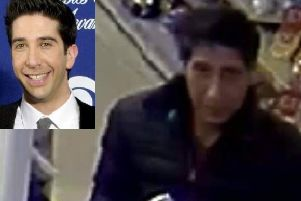 The man wanted by police in connection with an alleged theft. Inset: David Schwimmer who plays Ross Geller in hit US sitcom Friends.