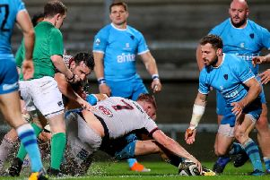 Ulster's Marcus Rea goes over for a try