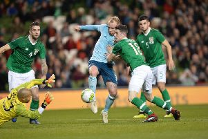Northern Ireland's Liam Boyce has an attempt on goal