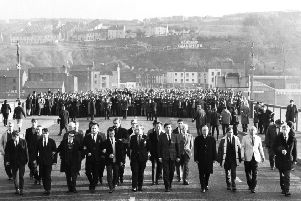 Civil rights march on its way across Craigavon Bridge on 16 November 1968.