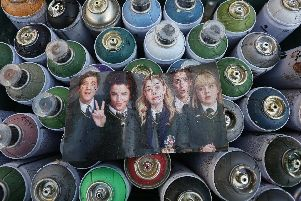 A closer look at the photograph used to create the mural on the side of a Derry city centre bar.