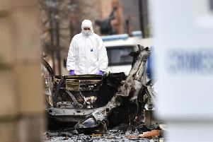 A photograph conveying the aftermath of the car bomb which exploded outside of the Derry courthouse earlier this month.
