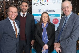 Frank Mertens, Head of Marketing, Flybmi, Anthony Price, Director of Marketing and Customer with Flybmi, Charlene Shongo, Manager, City of Derry Airport and Clive Coleman, RCA contracts director Regional and City Airports pictured at a briefing in Derry organised by City of Derry Airport. Picture Martin McKeown. Inpresspics.com. 29.01.19