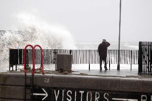Large waves crash against the harbour at Donaghadee. (Photo: Presseye)