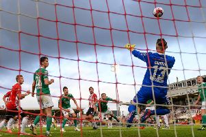 Cork City goalkeeper Peter Cherrie saves a header from Gavin Peers of Derry City during the SSE Airtricity League Premier Division match between Cork City and Derry City at Turner's Cross last year,