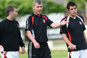 Way back in 2008 - Derry City manager Stephen Kenny, centre, with his assistant Alan Reynolds, left, and first team coach Declan Devine.