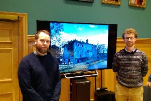 Peter Robinson, Project Architect and Rory Lamb, Heritage Consultant, from Coey Architects after delivering their presentations at the Guildhall.