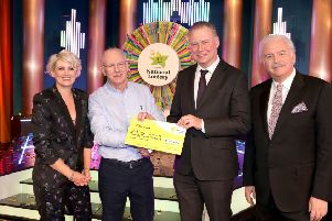 Patrick Collum from Redcastle, Co. Donegal has won 23,000 euro on last Saturday's National Lottery Winning Streak Game Show on RTE. Pictured  at the presentation of the winner's cheques were from left to right:, Winning Streak game show co-host; Sinead Kennedy, Winning Streak Co-Host; Patrick Collum, the winning player; Dermot Griffin, Chief Executive Officer at the National lottery and Marty Whelan, Winning Streak Game Show co-host.  The winning ticket was bought from Gala Express, Drung, Quigleys Point, Co. Donegal. Pic: Mac Innes Photography.